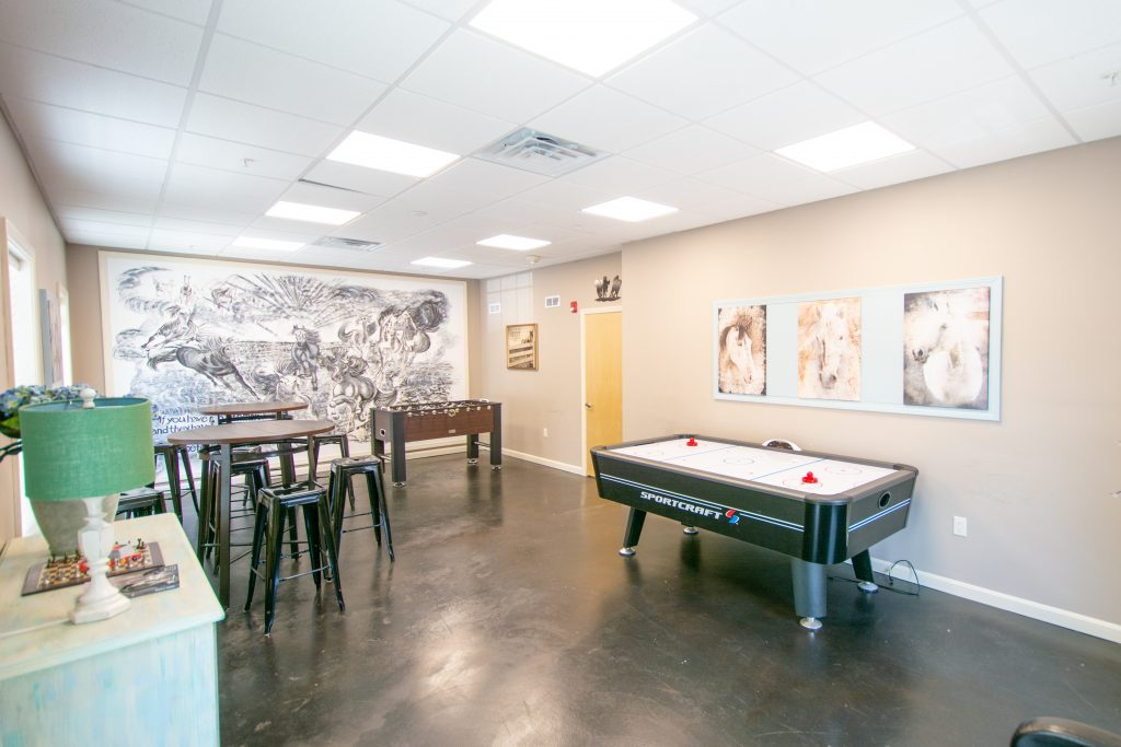 The Game Room in Clinical Stabilization ServicesThe Media Lounge in Clinical Stabilization Services